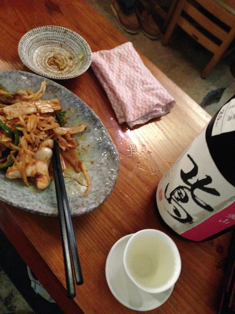マンボーの腸 辛味噌炒めと日本酒